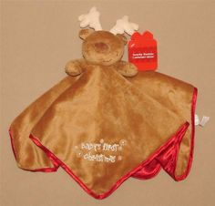 nwt reindeer babys first christmas brown velour red satin lovey security blanket nemcor security blanket