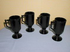 4 VINTAGE INDIANA CONTINENTAL BLACK FOOTED MUGS CUPS #1061 EUC, MADE IN USA. FOR SALE IN MY STORE: https://www.ebluejay.com/Ads/item/6143963