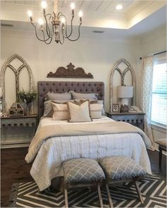 Rustic Farmhouse Bedroom Decorating Ideas To Transform: Farmhouse Bedroom Decor Ideas Are Very Warmly. Country Rustic Farmhouse Bedroom Decorating Ideas To Transform: Farmhouse Bedroom Decor Ideas Are Very Warmly. Modern Bedroom Decor, Farmhouse Master Bedroom, Master Bedroom Design, Home Bedroom, Girls Bedroom, Bedroom Designs, Bedroom Layouts, Master Suite, Bedroom Wall