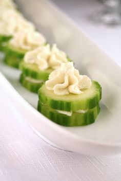 This super easy play on cucumber sandwiches was a surprise hit at my Downton Abbey Party. Refreshing and light, yet flavorful and satisfying, and only two ingredients! See more from my Downton Abbe...