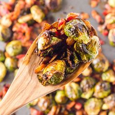 Roasted Brussels Sprouts with Bacon creates a savory side dish perfect for a weeknight meal or a holiday gathering. Brussels sprouts are paired with flavorful bacon and roasted until crispy on the outside and soft on the inside. You will love this dish!// acedarspoon.com #bacon #brusselssprouts #sidedish #vegetable #Thanksgiving Shredded Brussel Sprouts, Sprouts With Bacon, Brussels Sprouts, Great Salad Recipes, Hummus And Pita, Baked Butternut Squash, Pork Bacon, Baked Cod, Herb Butter