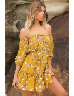 159cefadc45   25.99  Women s Off Shoulder Daily   Going out Casual   Street chic Loose    Shift   Lace Dress - Floral Mesh Boat Neck Summer Silk   Cotton Yellow S  M L