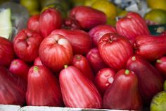 An apple a day keeps the doctor away! Bright red Otaheiti Apples are a seasonal treat in Jamaica. Jamaica Drink, Jamaica Jamaica, Exotic Fruit, Tropical Fruits, Broccoli Salad With Raisins, Pure Simple, Apple Roses, Jamaican Recipes, Fruit Drinks