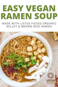 Enjoy this healthy and delicious easy vegan ramen! It's packed with veggies and tons of flavor, and uses Lotus Foods gluten free rice ramen noodles! #glutenfree #ramen Top Ramen Noodles, Ramen Noodle Soup, Vegan Ramen, Food Inc, Baked Tofu, Gluten Free Rice, Food Website, Foods With Gluten, Soup And Salad
