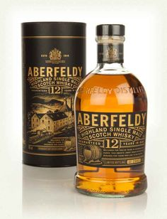 Aberfeldy 12 Year Old, The classic 12 Year Old Aberfeldy single malt Scotch whisky, distilled in the Highlands. While the label sadly no longer features a red squirrel, it now comes with a rather handsome black and rose-gold colour palate to match the rich, malty flavour profile.