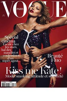 Vogue Paris, May 2011  A few weeks before her runway comeback to close the Louis Vuitton Fall/Winter 2011 show in Paris, Kate Moss posed against a red background for Mert Alas & Marcus Piggott. For the May 2011 cover of Vogue Paris, Kate embodies all the glamour of the cinema, as her sequined silk Armani Privé jacket is torn off by male hands. Kate also appeared in a fashion spread within the magazine, modeling Spring/Summer 2011 haute couture looks.
