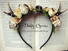 "Elegant  Enchanted Mori  Goth deer horns antler hair band ""Old woods Fairytail"""