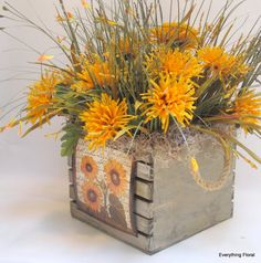 Fall silk flower arrangement in rustic twig by flowersandfrills fall silk flower arrangement in wood box with by everythingfloral mightylinksfo Gallery