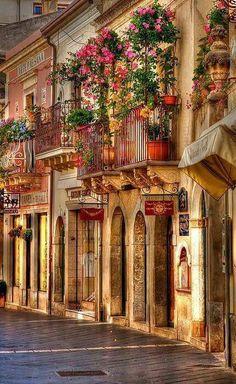 """Sicily. Italy.""""Balconi fioriti. Taormina, Italia."""""""