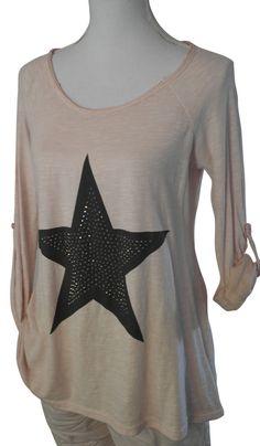 Impressionen Longshirt Shirt rosa lachs Stern grau Nieten silber langarm  38 40