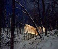 """""""Fragile Shelter"""" a temporary shelter in a forest near Sapporo, Japan. It's meant to bring people together and the leave no sign that it ever existed once it's disassembled. #temporary #Japan"""