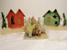 Three Vintage Christmas Putz Houses From Japan by Eklektibles, $35.00