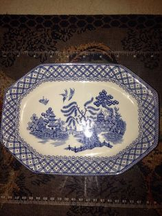 Royal Staffordshire J&G Meakin Willow Ironstone Blue Plate Platter 8.5'' x 6''