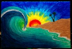 Sunset beach melted crayon art
