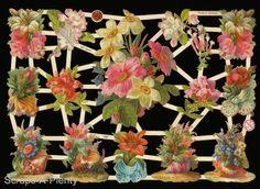 German Victorian Style Embossed Scrap Die Cut - Flowers Sea Shells EF7287