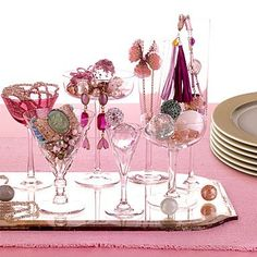 super glue orphaned wine glasses to mirror to store jewelry and baubles  Stylish teen bedroom ideas for girls!