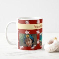 #photo - #Personalized red Christmas snowflakes photo Coffee Mug