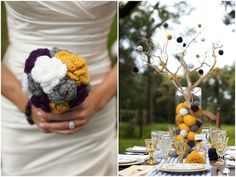 creative and unique crochet bridal bouquet + pom pom tree centerpieces!