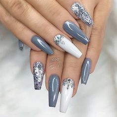 ✨ REPOST - - • - - Grey, Silver Glitter, White and Crystals on long Coffin Nails ❄✨ - - • - - Pict...
