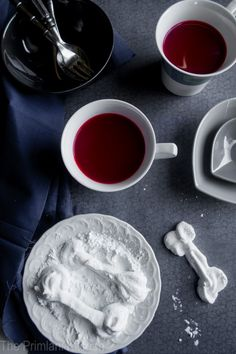Home Made Marshmallow Bones with Blood Hot Chocolate ~ via @PrimlaniKitchen ~ #chocolateaters #Pinterest #Fri