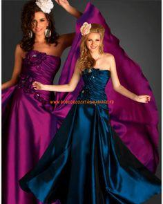 Belle robe sans bretelle au drapé violette blue fleurs satin robe de soirée 2013