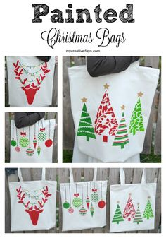 Painted Christmas Bags using Holiday Stencils from Cutting Edge Stencils to create DIY gift tote bags. http://www.cuttingedgestencils.com/christmas-stencils-valentine-halloween.html