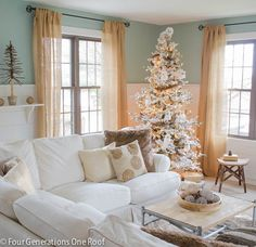 The white pine tree on the shelf, faux fur pillows, faux animal skin rug, faux fur throw and gold textured pillows are all from Home Goods. Love the owls in the Christmas tree! Winter Wonderland Christmas, Christmas Home, White Christmas, Christmas Cactus, Beach Christmas, Christmas Island, Outdoor Christmas, Christmas Trees, Christmas Holidays