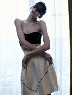 """Paris Girl"" Kinga Rajzak in a Chanel skirt, Photographed by John-Paul Pietrus for Harper's Bazaar Singapore."