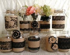 rustic burlap and black lace covered mason jar vases wedding decoration, bridal shower, engagement, anniversary party decor by PinKyJubb on Etsy (Decorated Bottle Centerpieces) Mason Jar Vases, Rustic Mason Jars, Mason Jar Crafts, Bottle Crafts, Rustic Vases, Bottle Art, Burlap Lace, Hessian, Burlap Crafts