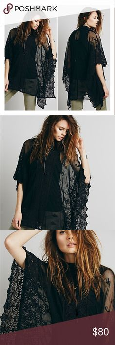 Free People Suzie Sheer Lace Poncho ❣️ Nwt! Sheer mesh Poncho with a V-neck and arm holes. Crochet detailing throughout and scalloped trim. One size fit all. No trades ❌❌ No modeling Free People Sweaters Shrugs & Ponchos