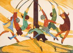 The Giant Stride : Ethel Spowers : Circa 1933 : linocut : Art Print Art Prints For Sale, Wall Art Prints, Fine Art Prints, Auckland Art Gallery, Wood Engraving, Linocut Prints, Giclee Print, Australian Artists, Affordable Art