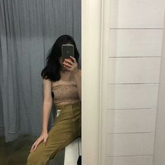 [ Ar. W ] [ save = follow ] Boyish Girl, Girls Mirror, Ulzzang Korean Girl, Girl Photography Poses, Pants Outfit, Girl Pictures, Dress Me Up, Fashion Outfits, Fashion Tips