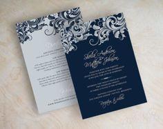 Vintage filigree wedding invitation formal by appleberryink