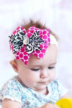 hair bow... pink and black damask ribbon hairbow