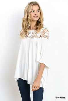 This crochet top is so gorgeous, you will be in love and feel like a million bucks! This feminine top features an crochet yoke with 3/4 sleeves that can be wornon or off the shoulders. It's so soft and is lightweight material perfect for spring & summer! Unlined. Semi-sheer. Lightweight. Fabric: 50% MODAL, 50% POLYESTER -Model is 5'8'' and is wearing a Small. Small fits size 0-4 Medium fits size 6-8 Large fits size 8-10