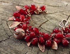 """Купить Браслет lampwork """"Гранат - Punica granatum"""" - бордовый, гранат, браслет, авторское стекло"""