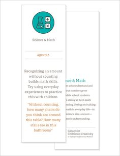 These double-sided bookmarks contain tips for families to try, and an explanation of the associated skill from the Promising Practices guide. Build Math, Discovery Museum, School Readiness, Math Skills, Bookmarks, Families, Student, Science, Tips