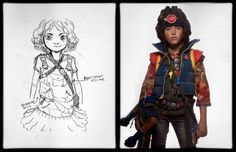 Gerard Way's concept art for the Killjoy character The Girl, side by side with the final design worn by Grace Jeannette | Make a wish when your childhood dies Tumblr | Explaining the world of the Killjoys in complete and total detail.