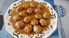 Albóndigas con salsa de cebolla, Foto, receta y elaboración de Montse Garín, miembro de https://www.facebook.com/lacocinadepedroleon/