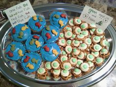 For Dr. Suess celebrations. One fish two fish cupcakes and green eggs and ham treats (small pretzels, white chocolate candy disk, green m place the white chocolate on the pretzels, place in oven at 350 for 5-10 minutes just enough to melt. place green m's in the chocolate)