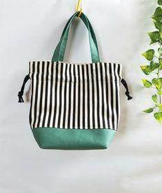 ストライプの巾着 Pouch Bag, Purse Wallet, Tote Bag, Linen Bag, Market Bag, Cotton Bag, Textile Prints, Handmade Bags, Gift Bags