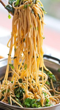 garlic butter spaghetti with herbs....