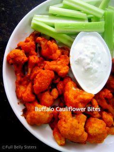 Full Belly Sisters: Buffalo Cauliflower Bites w. Yogurt Gorgonzola Dip