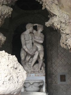"""""""Langdon and Sienna sprang into motion again—although probably only delaying the inevitable—shuffling backward on all fours into the second cavern, which was smaller, deeper, and darker. It, too, was dominated by a central piece of art—in this case, a statue of two intertwined lovers—behind which Langdon and Sienna now hid anew."""" - chapter 29"""