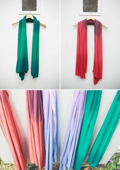 DIY No Sew Jersey Scarves - dip dying tips