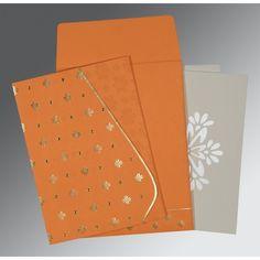 Trendy orange #ChristainWeddingInvitation made of Matt paper with ivory color envelope. #ChristainCards #OnlineWeddingCards