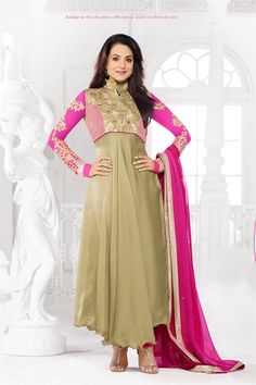 Amisha Patel Beige and Pink Georgette Embroidered Ankle Length Suit @ 50% discount