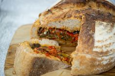 Summer vegetable stew stuffed in a loaf of bread- the ultimate portable meal