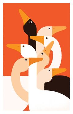 """Fashion Illustration Design Another piece by Giacomo Bagnara, """"Black Swan,"""" which really feels like a hats off to Charley Harper. Would love to see this guy do decorative materials, maybe even prints for fashion. Art And Illustration, Vogel Illustration, Illustration Inspiration, Illustrations And Posters, Graphic Design Illustration, Graphic Art, Animal Illustrations, Pattern Illustration, Le Sniper"""