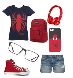 """""""spiderman"""" by gvkporter on Polyvore featuring Current/Elliott, Beats by Dr. Dre, JanSport, Converse, GlassesUSA, Casetify, women's clothing, women's fashion, women and female"""